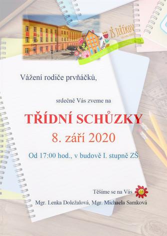 Pozvánka na třídní schůzky prvňáčků 8. září 2020 od 17:00 hod.