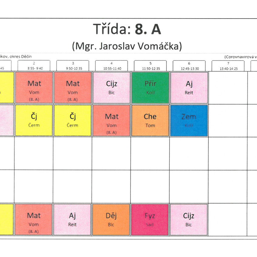 Rozvrh třídy 8. A