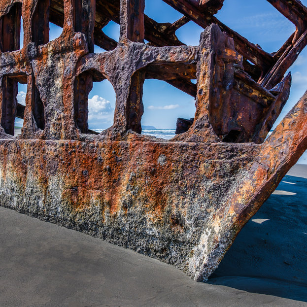 Peter Iredale Wreak. The 280' four masted schooner ran aground in 1906 off the Oregon caost.