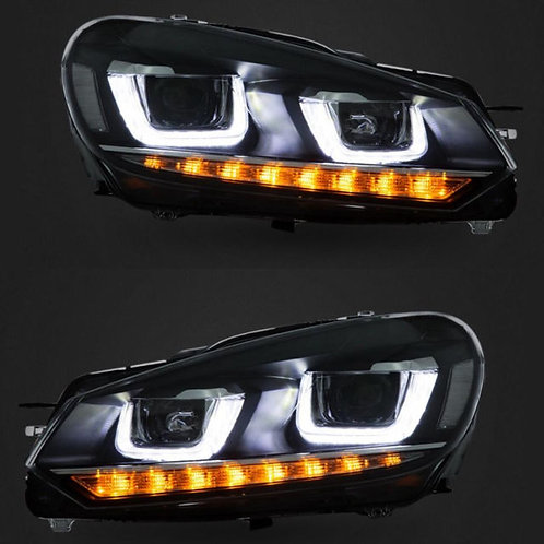 DRL Full LED Headlight For VW Golf 6R MK6 TDI TSI 08-13 Front Light Headlights
