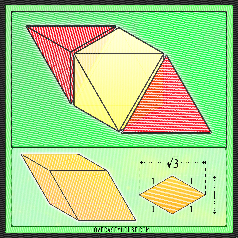 tetrahedron, octahedron, rhombus