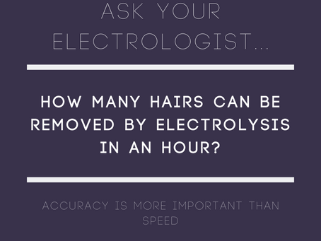 How many hairs can be removed by electrolysis in an hour?