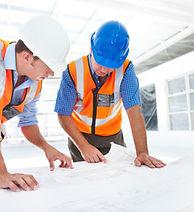 Construction management- 2 men with blue