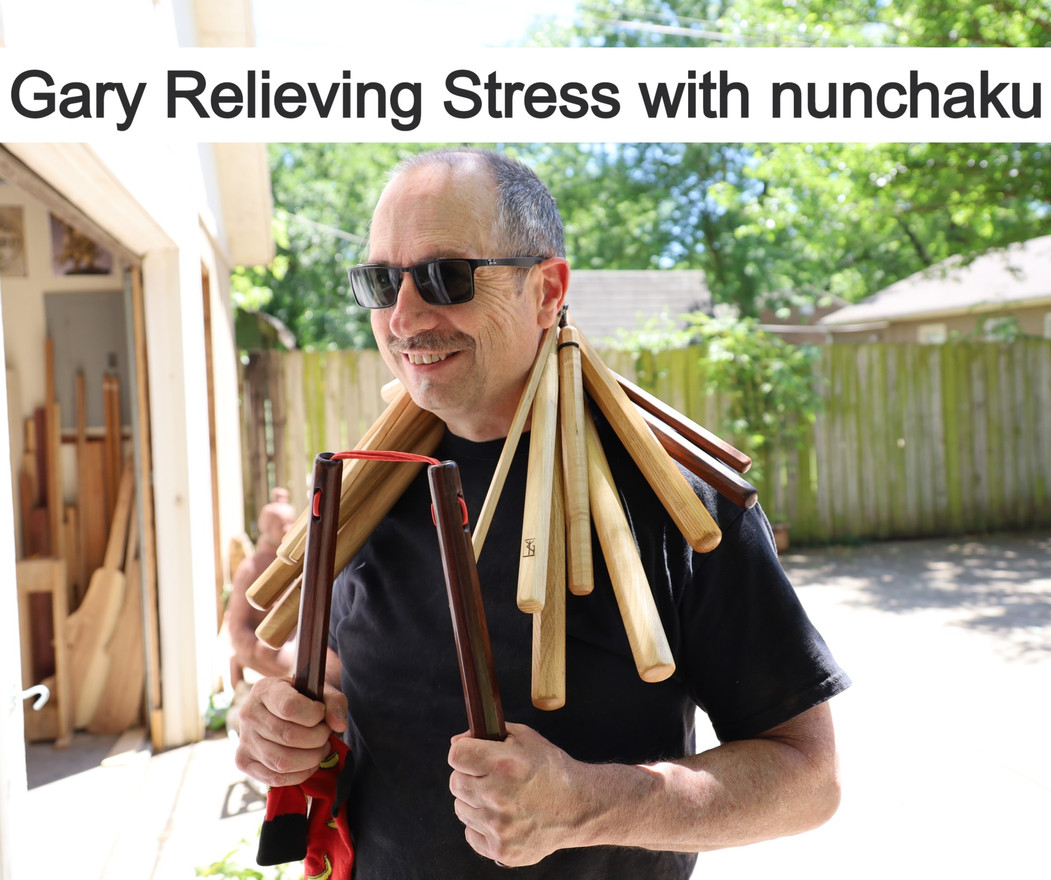 Gary Relieving Stress with nunchaku