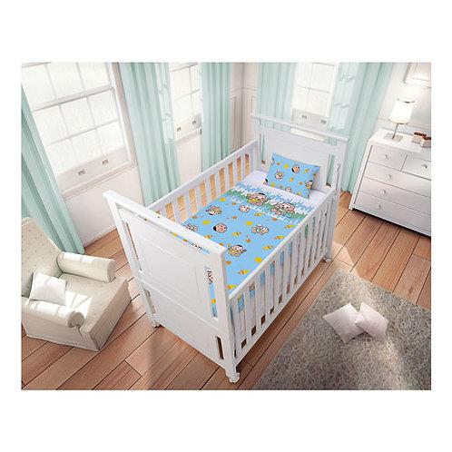 kit 09 Jogo de Lençol Bebê Masculino Cebolinha e Cascão Branco e Azul (3 Peças)