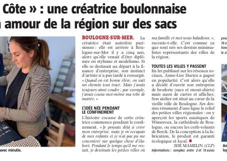 Article de la Voix du Nord sur Ligne de Côte rédigé par Zoé Mamelin - 26 / 07 / 2020