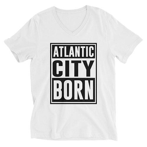 Atlantic City Born White Unisex Short Sleeve V-Neck T-Shirt