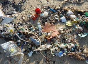 Imagem mostrando muito lixo acumulado na praia. Podemos ver várias embalagens plásticas, e restos de outros objetos plásticos.