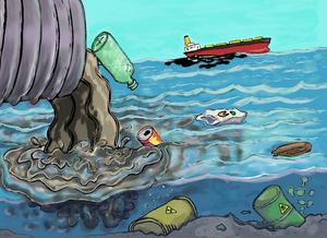Desenho mostrando um cano desaguando esgoto no oceano. Nesse esgoto está saindo garrafa de vidro, latinha de refrigerante, papéis e outros lixos. No fundo do oceano, estão representados dois latões com conteúdo contaminante e ao fundo da imagem há um navio vazando petróleo.
