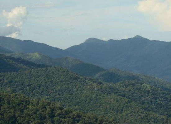 Foto de uma cadeia de montanhas cobertas de vegetação da Mata AtlÇantica. Ao fundo o céu está azul com algumas nuvens brancas.