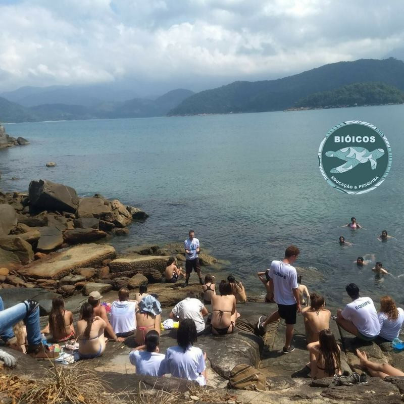 Imagem mostrando uma das aulas dos cursos da Bióicos em Ubatuba. Nessa foto há várias pessoas sentadas em um costão rochoso, 5 pessoas dentro d'água e o professor Douglas falando sobre esse ambiente para eles.