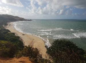 Foto vista de cima de um morro, mostrando a praia com o oceano e do lado esquerdo e na parte inferior há alguma vegetação.