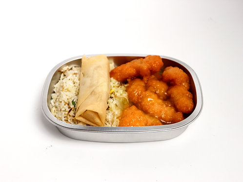 Lemon Chicken With Fried Rice & Spring Roll