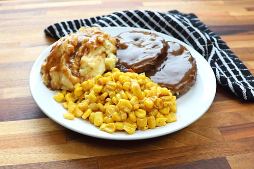 Frozen Meatloaf with Gravy, Mashed Potato & Corn