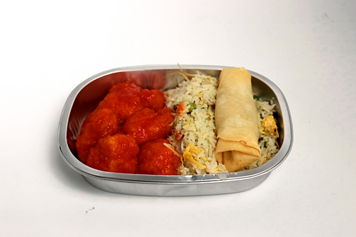 Sweet & Sour Chicken With Fried Rice & Spring Roll