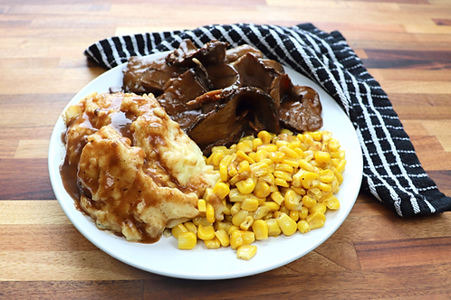 Frozen Roast Beef with Gravy, Mashed Potatoes & Corn