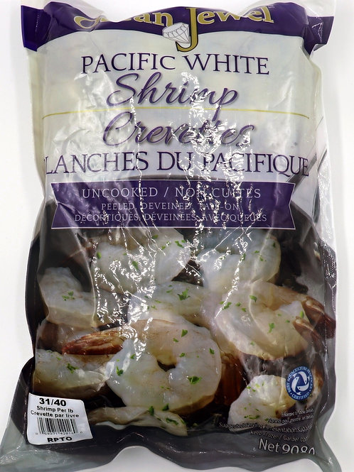 Pacific White Shrimp Uncooked, Deveined, Tail-on 31/40