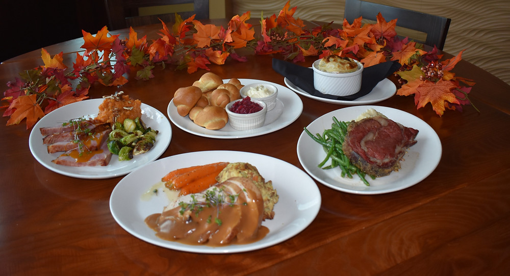 A variety of foods served at CityGate Grille for Thanksgiving 2020