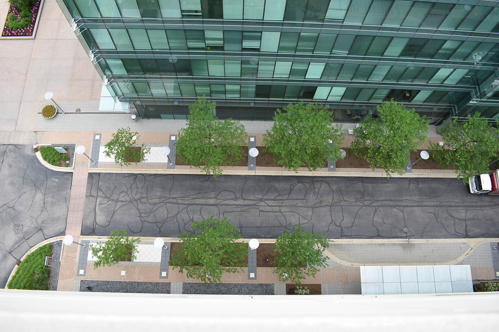 The over-the-edge view from atop Hotel Arista