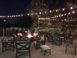 nighttime patio area