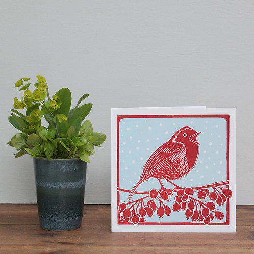 Pack of 4 greetings cards - Singing Robin