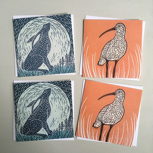 Pack of 4 greetings cards - Hare and curlew