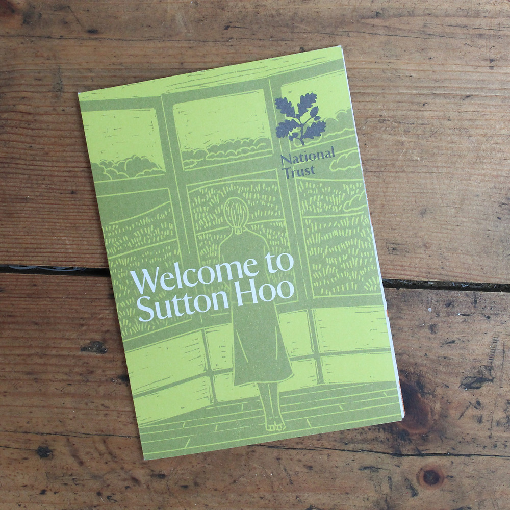 Edith Pretty linocut illustration on 'Welcome to Sutton Hoo' leaflet