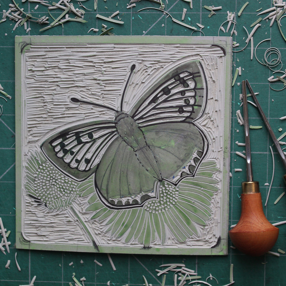 Finished linocut block for the Sutton Hoo copper butterfly illustration.
