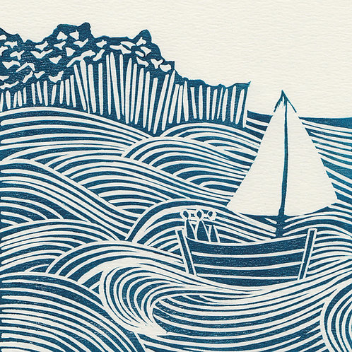 Sea Days, original linocut print