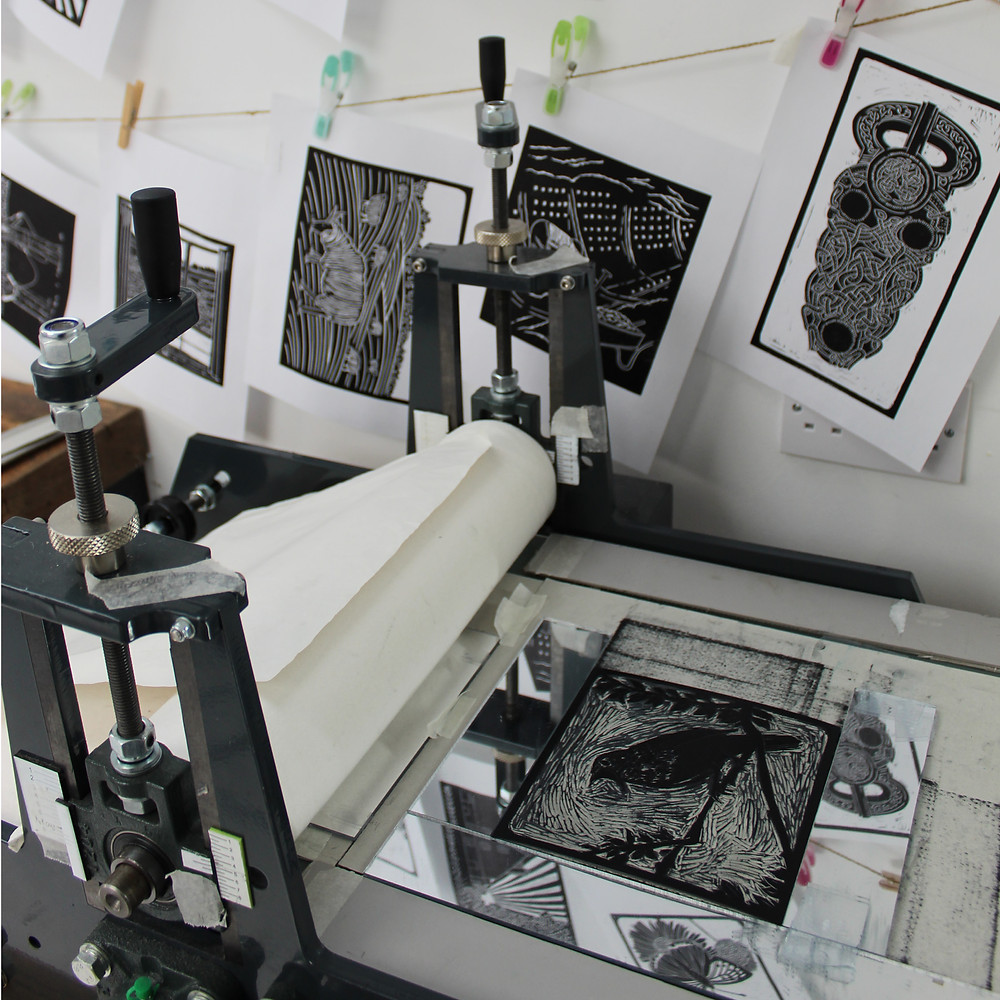 Printing the Sutton Hoo nightingale bird linocut illustration