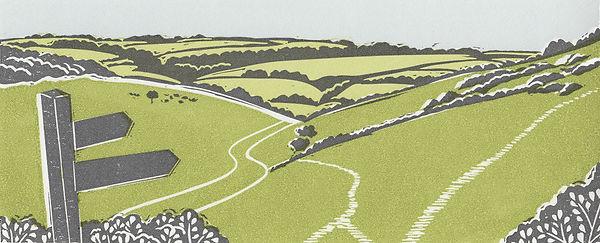 Millington Yorkshire Wolds linocut print