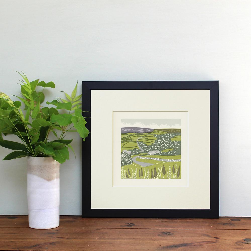 'Lealholm', Esk Valley, linocut print - Framed