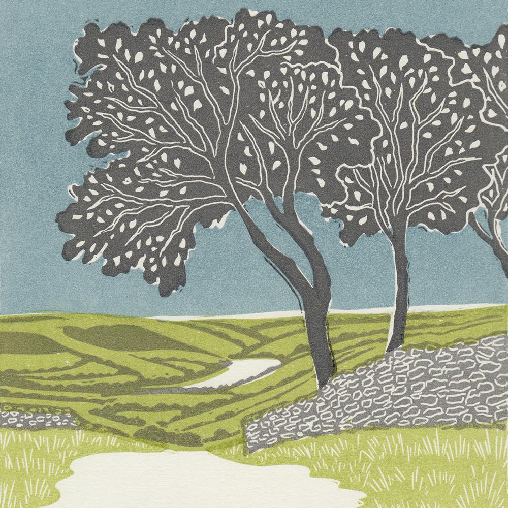 Nidderdale, Yorkshire, linocut print