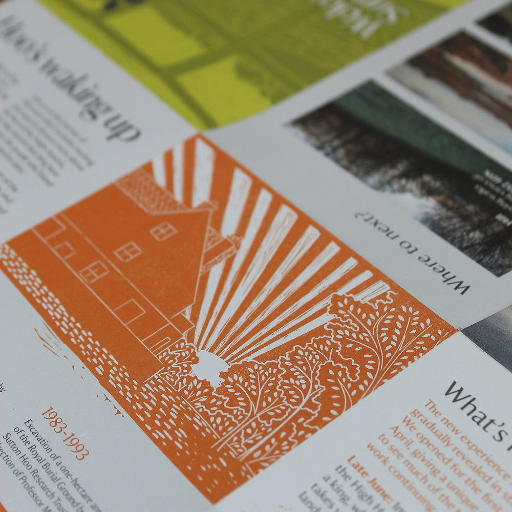 Close up detail of Tranmer House linocut illustration in 'Welcome to Sutton Hoo' leaflet