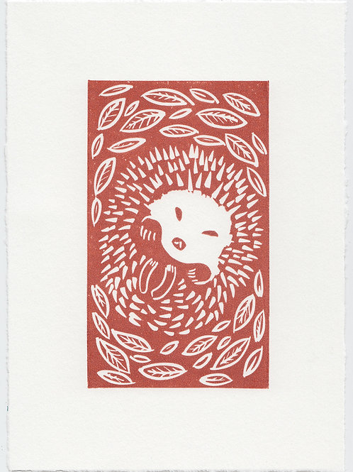 Autumn Hedgehog, original linocut print - Terracotta
