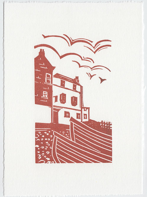 Yorkshire Coast linocut print, Baytown - terracotta