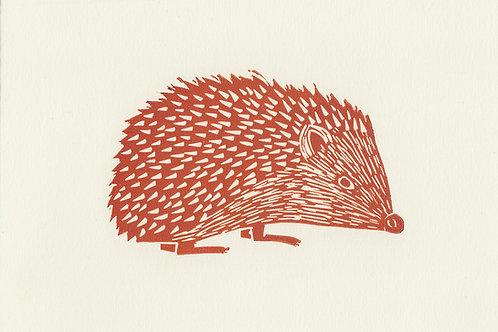 Hedgehog, original linocut print - Autumn red