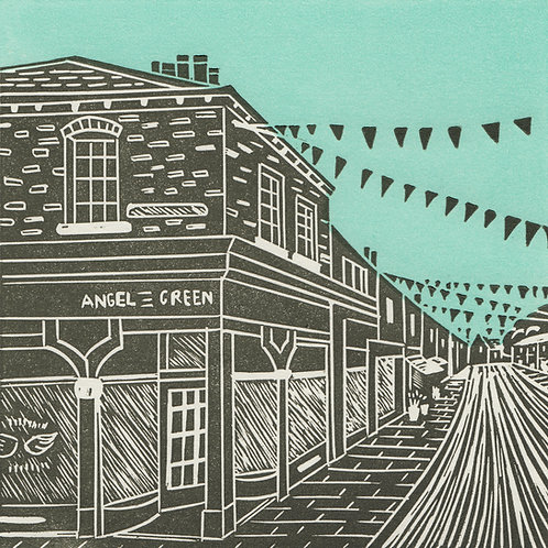 Bishy Road, York, original linocut print