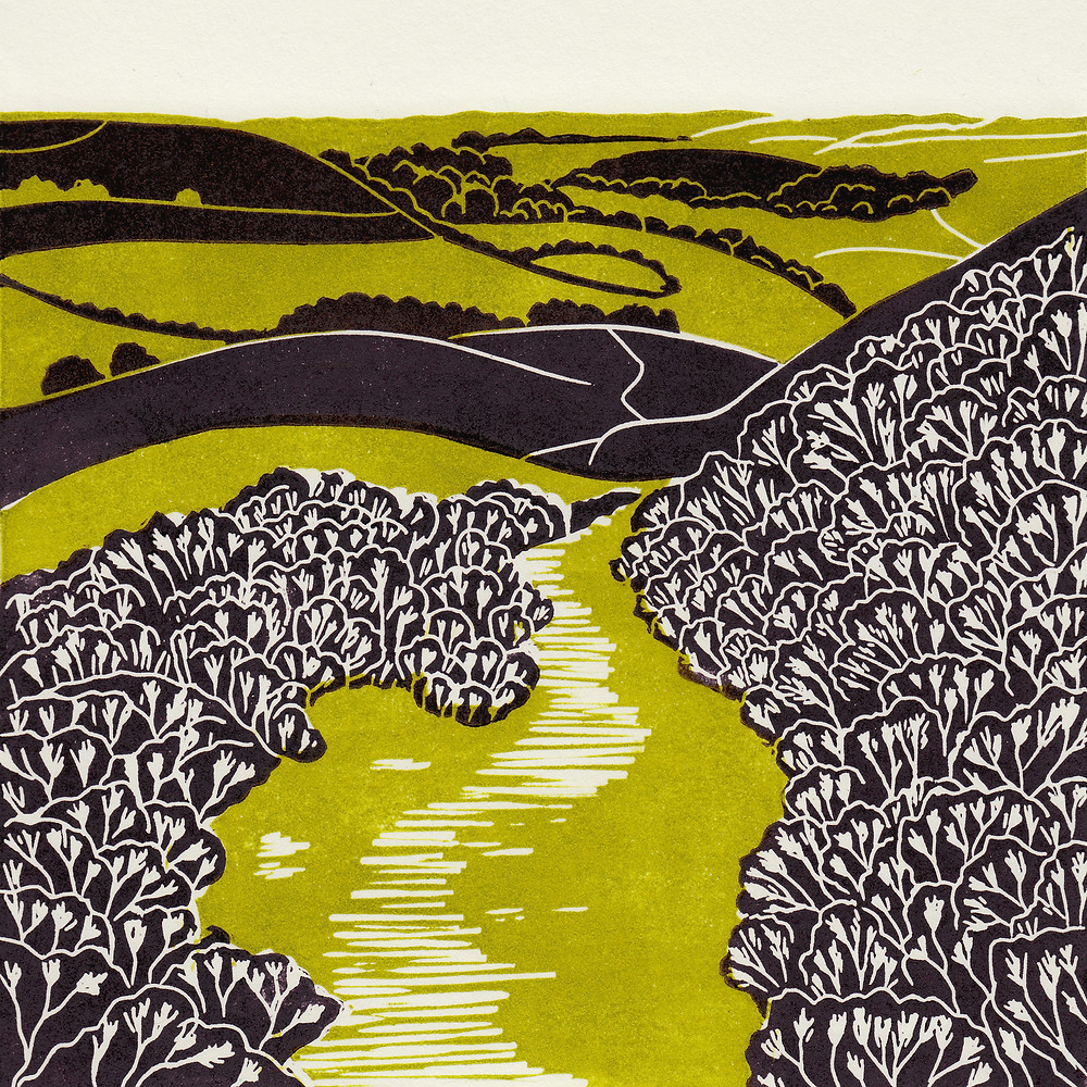 Hole of Horcum, original linocut print by Michelle Hughes