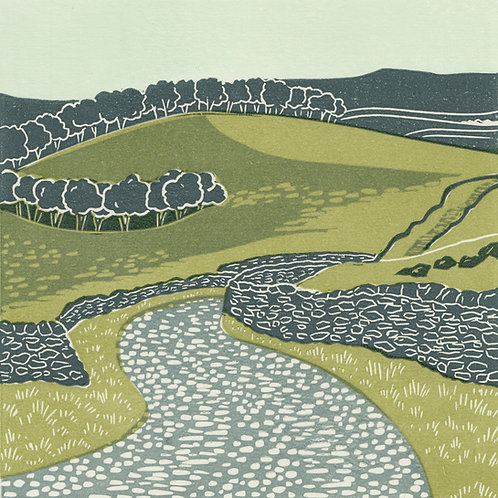 Ribblesdale, Yorkshire Dales, original linocut print