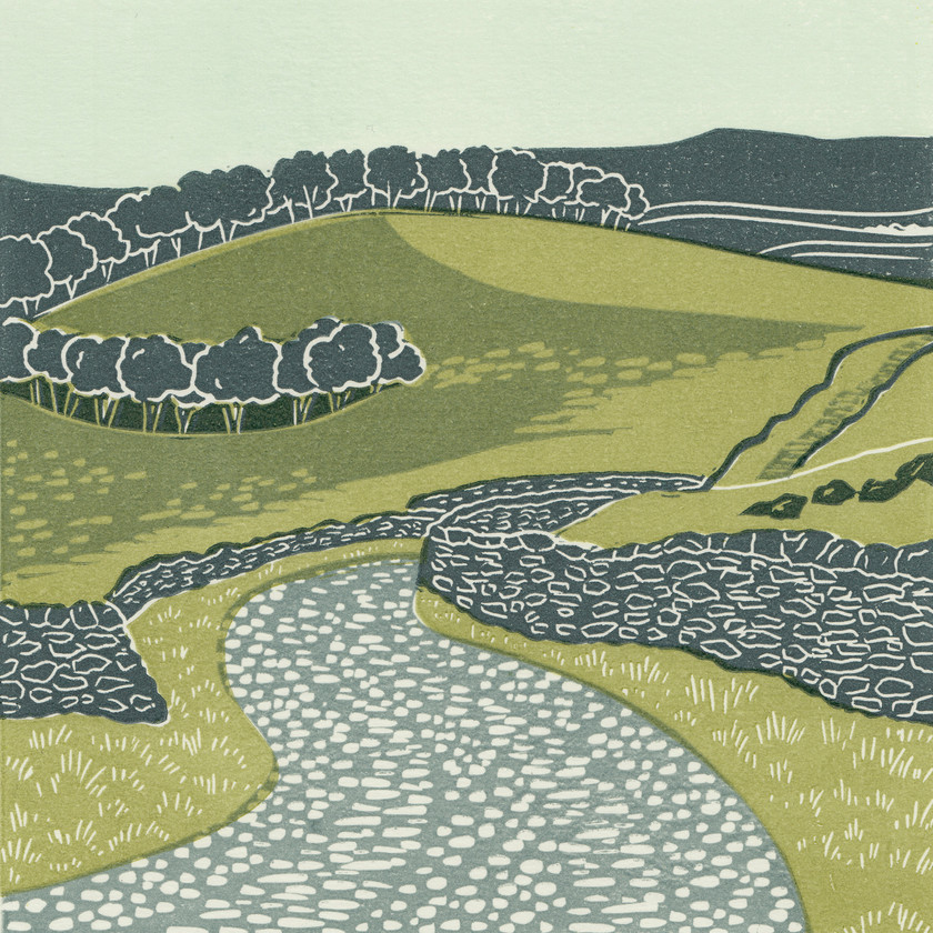 Ribblesdale, Yorkshire Dales, linocut print