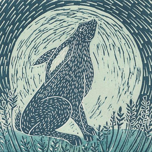 Moon Gazing Hare, original linocut print