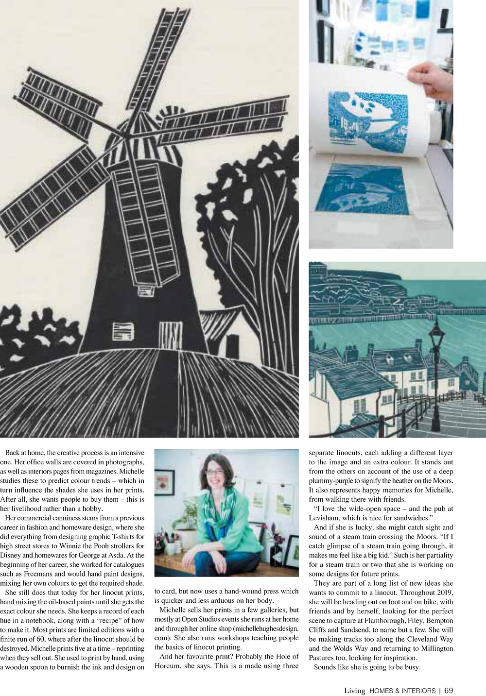 Michelle Hughes, Yorkshire Living, February 2019. 'A Print Linocut Above' magazine feature. Holgate Windmill, Whitby Steps and Staithes original linocut prints.