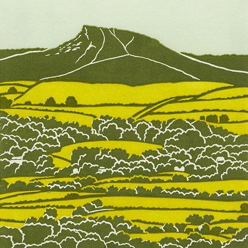 Roseberry Topping, North York Moors, original linocut print