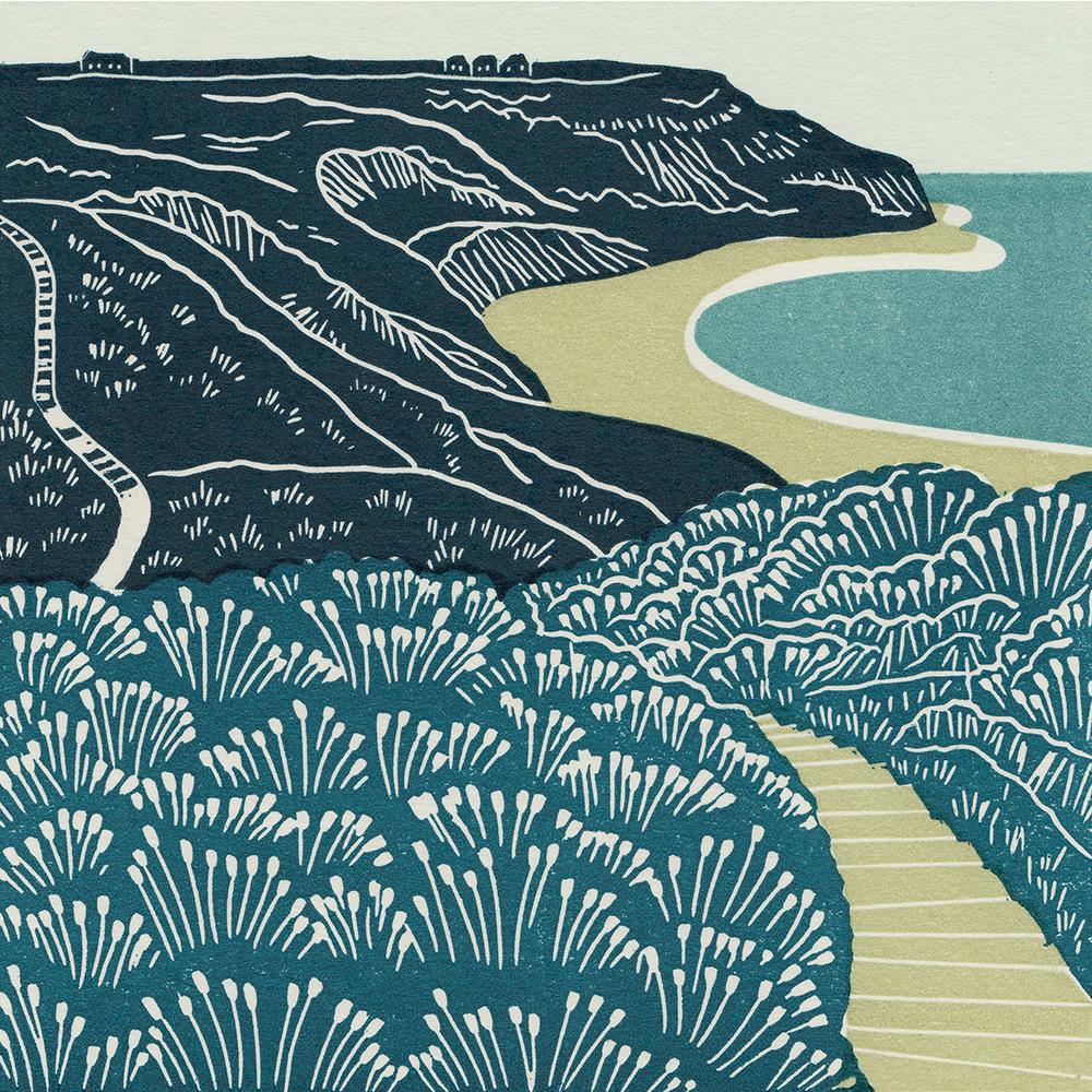 Port Mulgrave, Yorkshire Coast linocut print