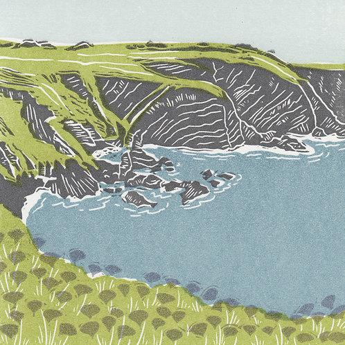 St Abbs Head, Berwickshire original linocut print