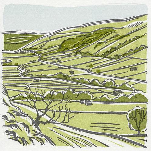 Kettlewell, Yorkshire Dales original linocut print