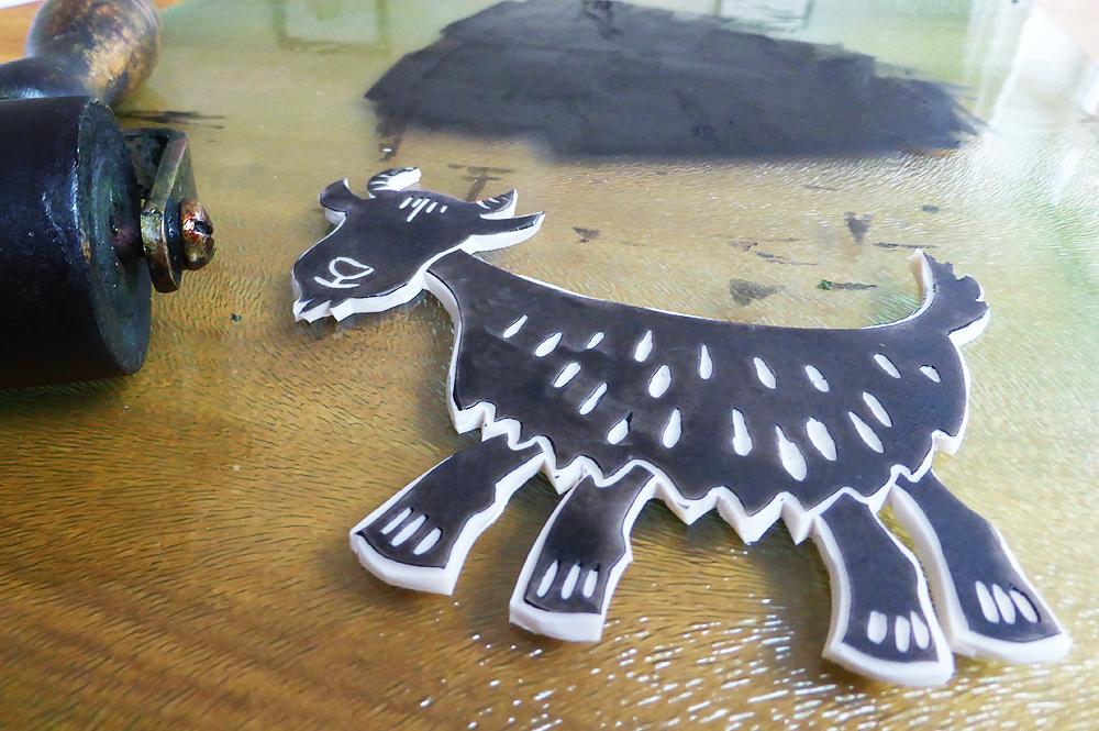 Beetle Bank Open Farm goat linocut