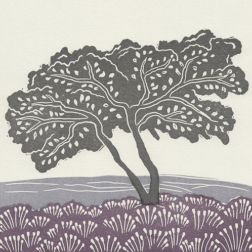 'Lone Tree, Esk Valley', North York Moors, original linocut print - Heather