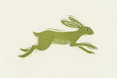 Leaping Hare, original linocut print - Green
